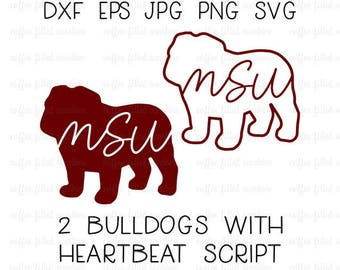 MSU BULLDOG Filled and Outlined with Heartbeat Script, Bulldog svg, Bulldawg, Cut File, Vector, Instant Download dxf eps jpg png svg