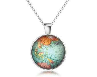 Earth Globe World Round Pendant with Silver  -