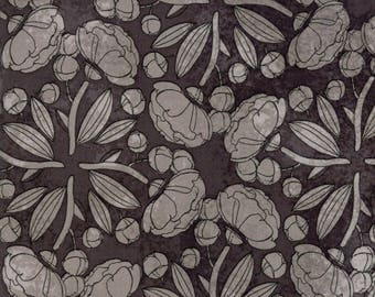 Moda BLUSHING PEONIES Quilt Fabric 1/2 Yard By Robin Pickens - Charcoal 48612 18