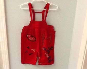 6 Month? Red Corduroy Overalls with Football Theme Print