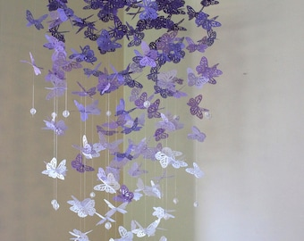 Monarch Butterfly Chandelier Mobile: Purple and white Butterflies, Kids room, Baby shower, Crib Mobile, Nursery Decor, Baby nursery, Decor