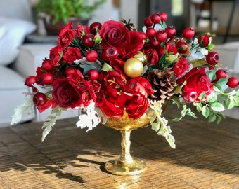 Holiday Reds Floral Arrangement Faux Flowers - Large