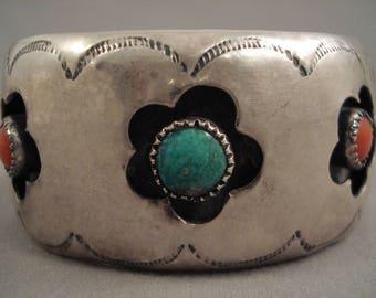 Floral Shadowboxes Vintage Navajo Green Turquoise Sterling Silver Bracelet Old