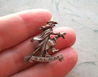 "Vintage Pewter Salem Witch Brooch,1"" by 7/8"",pin,witches,Halloween"
