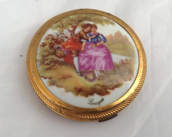 Limoges Powder Compact French Vintage Compact Fragonard Mirror Compact ( Ref No A315 )