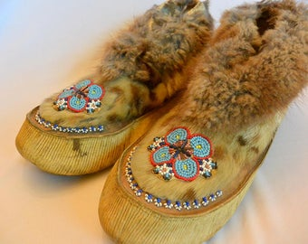 Vintage Native American Alaskan Athabaskan Beaded Moccasins Slippers