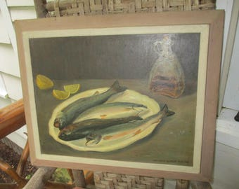 Vintage Oil Painting On Board Fresh Fish Trout Gertrude Schmitt Shaefer Bucks County PA  Fishing