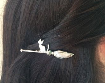 Witch Cat Bobby Pin - Cat Jewelry - Hair Clip - Hair Jewelry - Hair Accessories - Hair tie - Witch Jewelry - Silver - Gold - Sister Gift