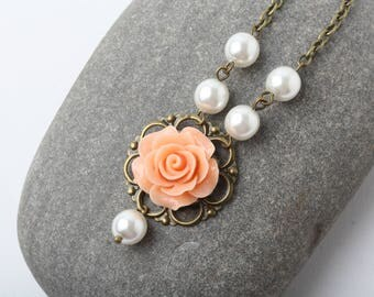Peach Rose Necklace, Bridesmaid Necklace, Rustic Wedding Jewelry, Peach Wedding necklace, Peach Necklace,  Bridesmaid Gift, shabby chic