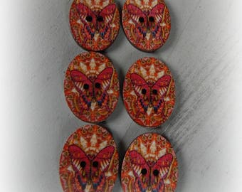 6 buttons oval red orange tones Butterfly pattern - 28 * 21 mm
