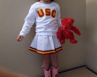 USC Kids Child Sweatshirt Pullover Skirt Cheerleader Uniform Christmas Halloween Football Game Costume