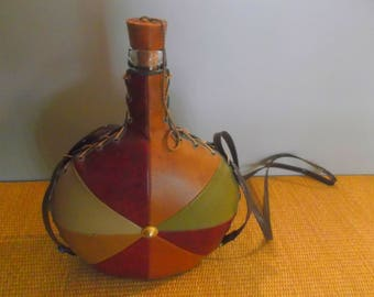 Vintage Leather Covered Bottle Decanter -- Hippie Flask --Late 1960s or early 1970s