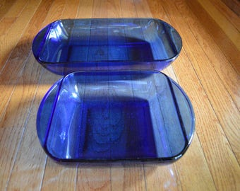 Anchor Cobalt Blue Pyrex Baking Dishes - Set of 2