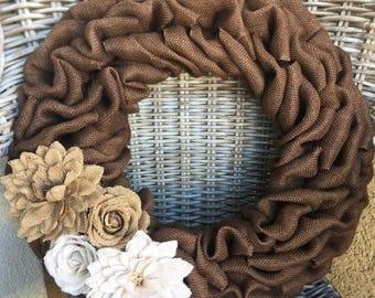 Summer Wreath, Shabby Chic Wreath, Everyday Wreath, Fall Burlap Wreath, Baby Shower Wreath, Gray Wreath, Fall Wreath, Farm House Wreath