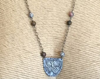 Picasso jasper and oxidized sterling  mid-length necklace with butterfly pendant