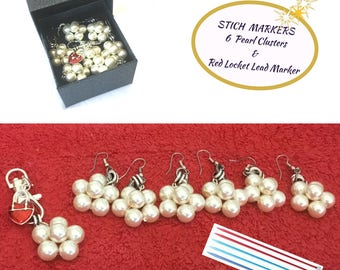 Gift Boxed Pearl Stitch Markers, Pearl Marker Set, Removable Stitch Markers,Pearl Stitch Marker Gift, Knitters Stitch Markers,
