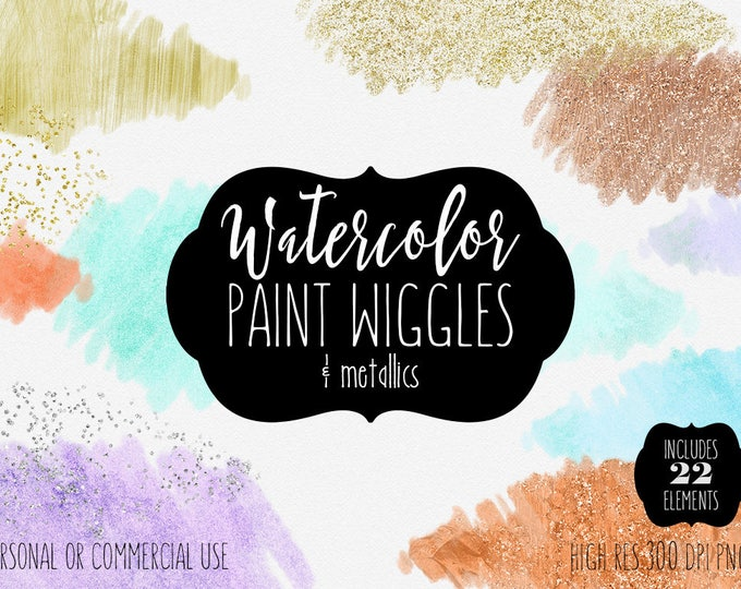 GOLD & WATERCOLOR BRUSH Strokes Clipart Commercial Use Clip Art 22 Watercolor Paint Textures Wash Metallic Rose Gold Confetti Logo Graphics