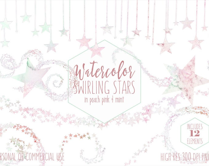 PASTEL RAINBOW Watercolor STAR Clipart Commercial Use Clipart Stars Graphics Mint Peach Pink Star Border Frame Banner Celestial Baby Clipart