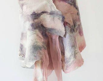 Felted Scarf, Silk Felt Wrap, Felted Shawl, Wedding Wrap, Nuno Wrap, Evening Shawl, Nuno felted scarf, Lavender & White, Vintage Style Wrap