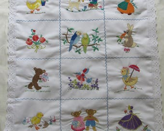 Embroidered Baby Quilt Cover, Vintage Baby Quilt, Embroidered Baby Cover, Baby Bedding, New Baby, Baby Shower Gift