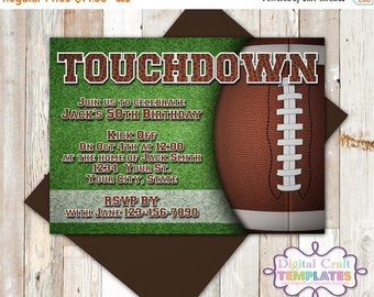 SALE Football Birthday Invitation, Touchdown, Football Theme, Invitation, Party Printables, Personalized Invitation, #441