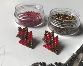 Beadwoven Stud Earrings - Triangle Beaded Earrings