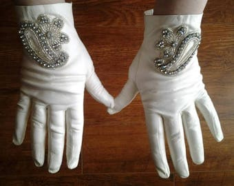 Vintage White Leather Gloves with Crystal Applique