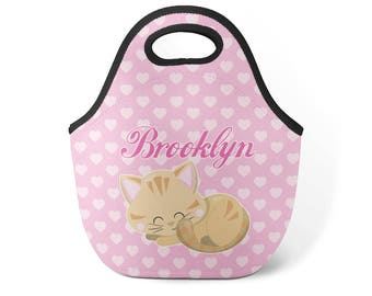 Personalized Cat Lunch Tote - Pink Hearts Cat Lunch Bag Kids Kitten Cat Neoprene Lunch  sc 1 st  Etsy & Cat lunch box | Etsy Aboutintivar.Com