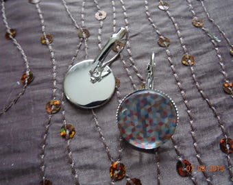 Earrings geometric glass cabochon Stud Earrings