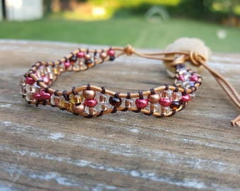 Red and copper beaded leather wrap bracelet
