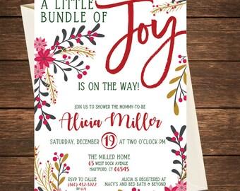 Little Bundle of Joy Baby Shower Invitation, Bundle of Joy Invitation, Christmas Baby Shower Invitation, Christmas Baby Shower
