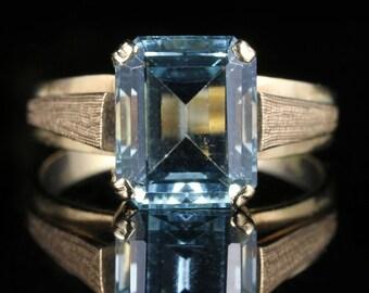 Art Deco 3CT Emerald Cut Aquamarine 9CT Ring