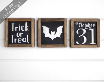 "Set of 3 Halloween Signs, Halloween Decor, Fall Decor, Halloween Home Decor, Autumn Decor, Rustic Halloween, Farmhouse Decor 7"" x 7"""