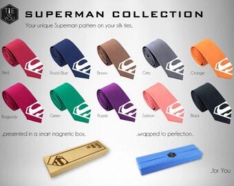 Superman Silk Tie - Slim Tie - Wedding Tie, Christmas Gift, Fathers Day Gift, Birthday Gift- FREE UK Shipping!
