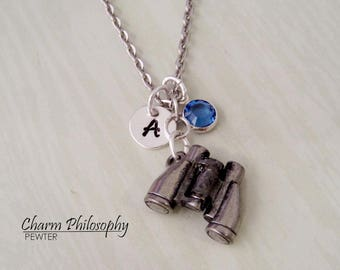 Binoculars Necklace - Nature Inspired Jewelry - Personalized Initial and Birthstone - Antique Silver Pewter Jewelry