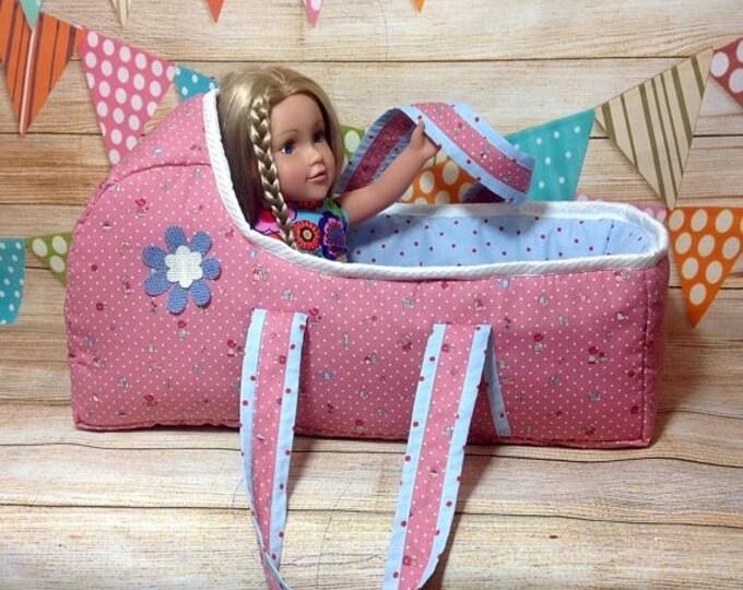 "Xmas Large Baby Doll Basket, American Doll 18"" Baby carrier, Baby doll basket, Doll bed, Doll accessories, Baby bag, Bassinet"