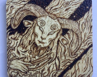 8cm Square Pyrography Pan's Labyrinth Faun Magnet