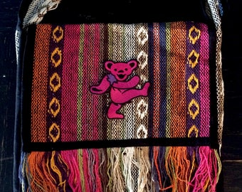 Pink Dancing Bear on  Multi Toned Haversack  Bag