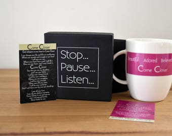 Come Closer Deep Pink Mug, boxed with Poem