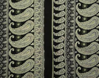 "Black Rayon Fabric, Paisley Print, Decorative Fabric, Apparel Fabric, 40"" Inch Home Decor Fabric By The Yard ZBR581A"