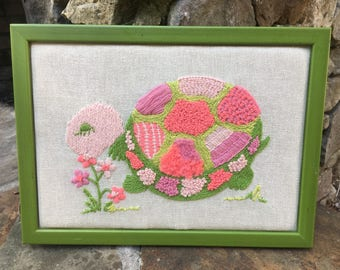 Pink and Green Framed Crewel work Turtle