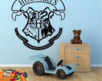 Harry Potter Hogwarts Coat Of Arms Crest Cut Logo Vinyl Wall Art Sticker Stencil Decal Mural
