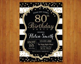 80th Birthday Invitation for women. Surprise 80th Birthday. Black and Gold Glitter. Black Stripes. Confetti. Any age. Printable Digital.