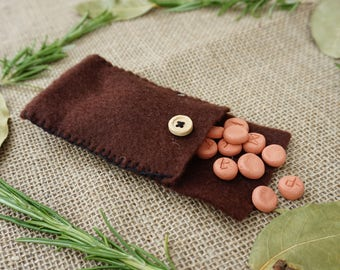 Small Elder Futhark Rune Set - with Handmade Brown Felt Bag