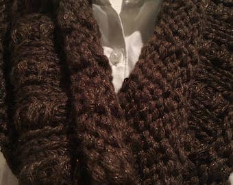 Chunky sparkly brown cowl