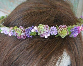 Lavender Succulent Flower Crown