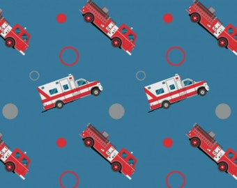 Fire Engines and Ambulances - Blue, Cotton Lycra Jersey Knit Fabric