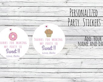 "Personalized Donut  or Cupcakes Sweet Treat ""Party So Sweet"", Birthday Party Favor, Thank You Tags, Stickers, You Choose Size, Sweet Theme"