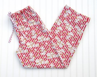 Women's Flannel Pajama Pants - Popcorn on Red and White Striped Background - Red Polka Dot Drawstring - Elastic Waistband