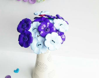Purple and blue daisy bouquet